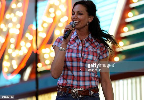 Joey Martin of Joey + Rory perform onstage at the 45th Annual Academy of Country Music Awards concerts at the Fremont Street Experience during the on...
