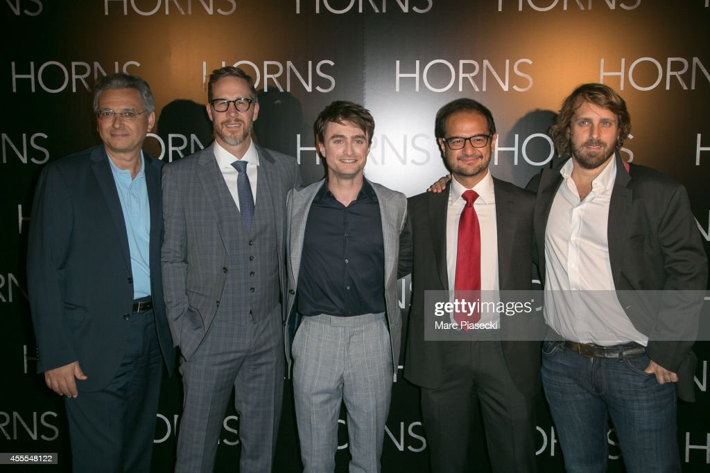Joey McFarland, Daniel Radcliffe, Riza Aziz and Alexandre Aja attend the 'Horns' Premiere at Cinema Gaumont Marignan on September 16, 2014 in Paris, France.