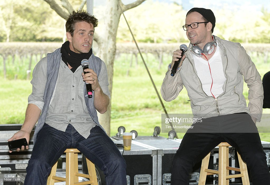 Joey McIntyre (L) and Donnie Wahlberg of New Kids on the Block perform at Sutter Home Winery as part of Live In The Vineyard on April 6, 2013 in Napa, California.