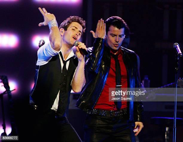 Joey McIntyre and Jordan Knight of New Kids On The Block perform at Sprint Center on November 11 2008 in Kansas City Missouri