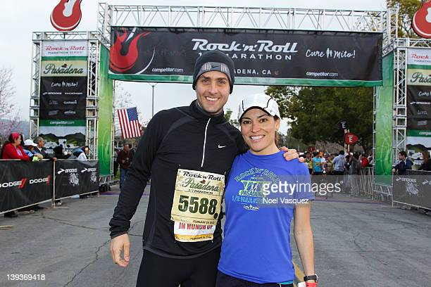 Joey McIntyre and Kit Hoover attend the Rock n' Roll Marathon Pasadena at the Rose Bowl on February 19 2012 in Pasadena California