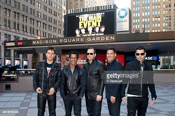 Joey McIntyre Danny Wood Donnie Wahlberg Jonathan Knight and Jordan Knight attend the New Kids On The Block Press Conference at Madison Square Garden...