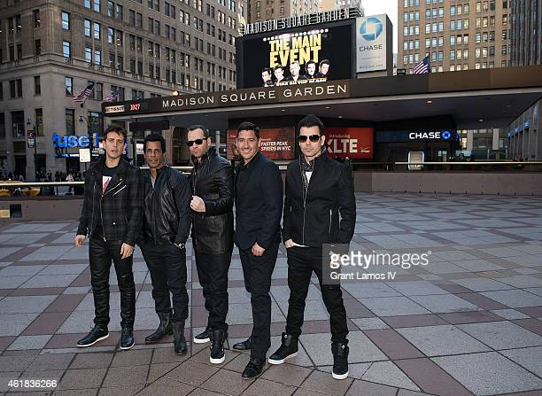 Joey McIntyre Danny Wood Donnie Wahlberg Jordan Knight and Jonathan Knight of New Kids on the Block pose for a photo during a press conference at...