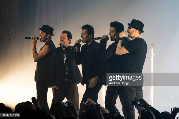 Joey McIntyre Danny Wood Jordan Knight Jonathan Knight and Donnie Wahlberg of New Kids On The Block performs on stage at Manchester Apollo on May 30...