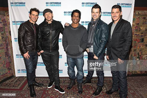 Joey McIntyre Donnie Wahlberg Danny Wood Jordan Knight and Jonathan Knight of the band New Kids On The Block pose backstage at the New Kids On The...