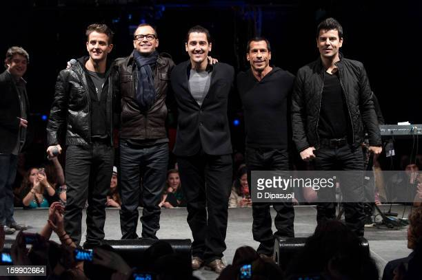 Joey McIntyre Donnie Wahlberg Jonathan Knight Danny Wood and Jordan Knight of New Kids on the Block attend the Package Tour Special Announcement at...