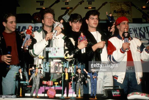 Joey McIntyre, Donnie Wahlberg, Jonathan Knight, Jordan Knight and Danny Wood at a New Kids On The Block promotional appearance circa 1989 in New...