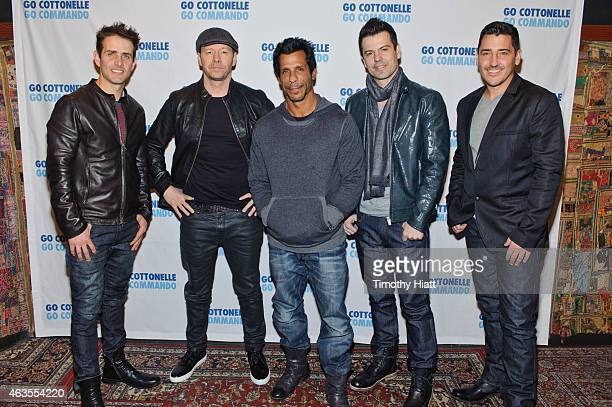 Joey McIntyre Donnie Wahlberg Jordan Knight Danny Wood and Jonathan Knight of the band New Kids On The Block pose before their performance at...