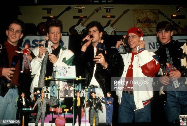 Joey McIntyre Donnie Wahlberg Jordan Knight Danny Wood and Jonathan Knight at a New Kids On The Block promotional appearance circa 1989 in New York...