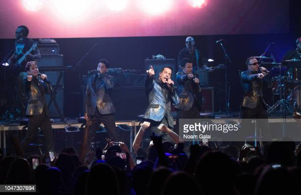 Joey McIntyre Jonathan Knight Danny Wood Jordan Knight and Donnie Wahlberg of New Kids On The Block perform in concert celebrating the 30th...