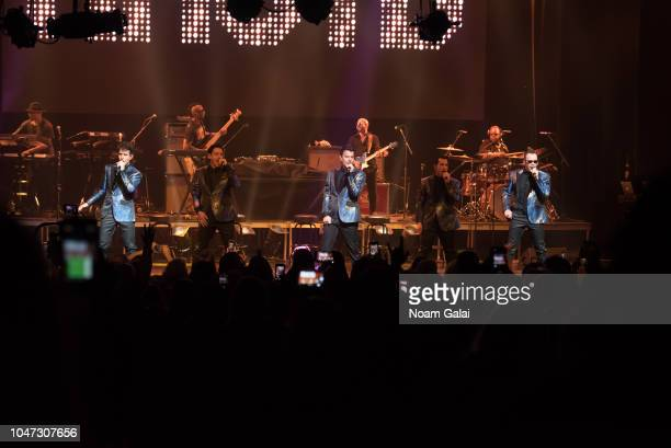Joey McIntyre Jonathan Knight Jordan Knight Danny Wood and Donnie Wahlberg of New Kids On The Block perform in concert celebrating the 30th...