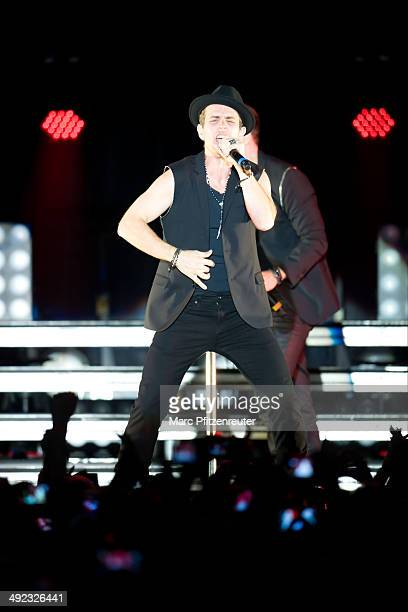 Joey McIntyre of American Boygroup New Kids On The Block performs during their 'Let's get Intimate Tour 2014' at the Palladium on May 19 2014 in...