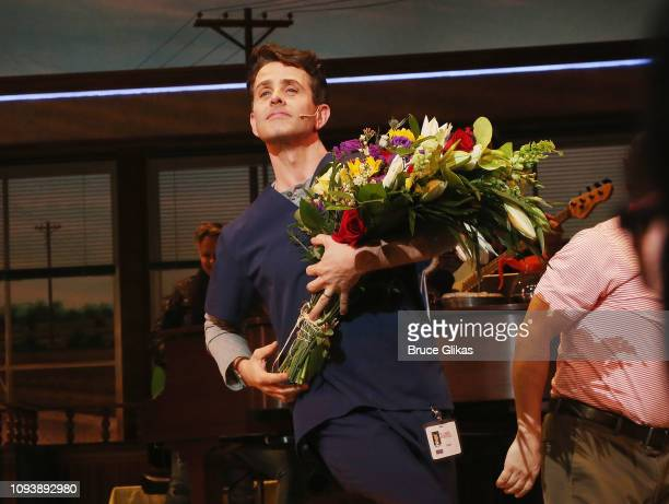 Joey McIntyre of New Kids On The Block takes his first curtain call as 'Dr Pomatter' in the hit musical 'Waitress' on Broadway at The Brooks Atkinson...