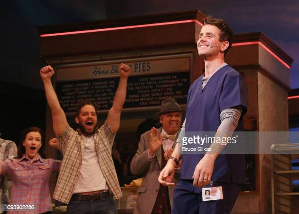 Joey McIntyre of 'New Kids On The Block' takes his first curtain call as 'Dr Pomatter' in the hit musical 'Waitress' on Broadway at The Brooks...