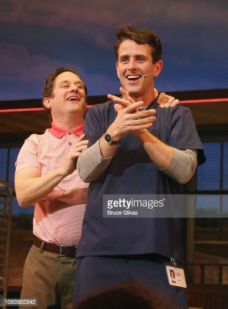 Joey McIntyre of New Kids On The Block takes his first curtain call as Dr Pomatter in the hit musical Waitress on Broadway at The Brooks Atkinson...