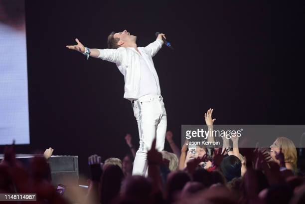 Joey McIntyre of the musical group New Kids On The Block performs at Bridgestone Arena on May 09 2019 in Nashville Tennessee