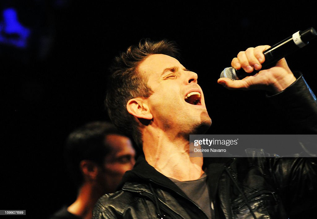 Joey McIntyre of The New Kids On The Block performs during The New Kids On The Block Special Announcement at Irving Plaza on January 22, 2013 in New York City.