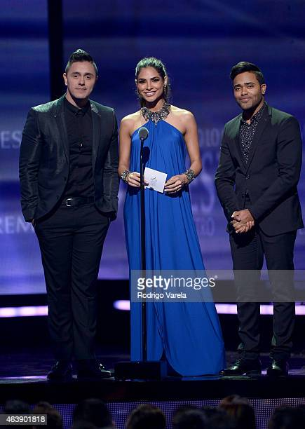 Joey Montana Alejandra Espinoza and Karlos Rose speak onstage at the 2015 Premios Lo Nuestros Awards at American Airlines Arena on February 19 2015...