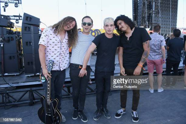 Joey Morrow Anthony Sonetti Josh Katz and Alex Espiritu backstage during the 2018 iHeartRadio Music Festival Daytime Stage at the Las Vegas Festival...
