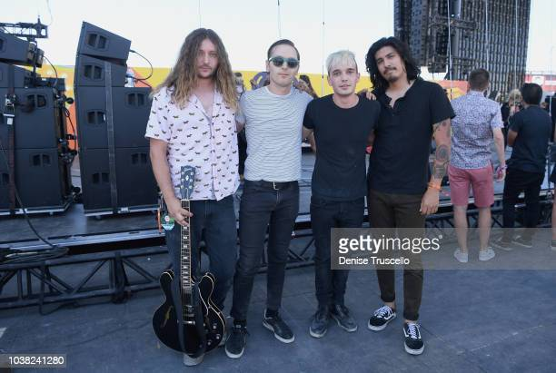 Joey Morrow Anthony Sonetti Josh Katz and Alex Espiritu of Badflower pose backstage during the 2018 iHeartRadio Music Festival Daytime Stage at the...