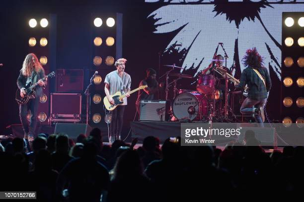 Joey Morrow Josh Katz Anthony Sonetti and Alex Espiritu of the band Badflower perform on stage during the KROQ Absolut Almost Acoustic Christmas at...