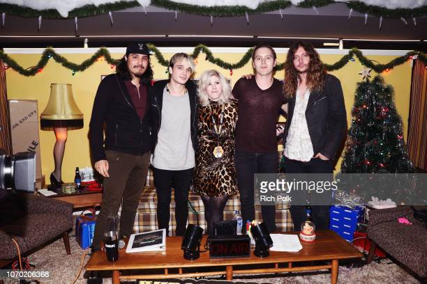 Joey Morrow Josh Katz Anthony Sonetti and Alex Espiritu of the band Badflower and KROQ Radio Host Kat Corbett attend the KROQ Absolut Almost Acoustic...