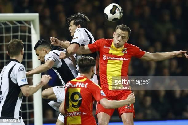 Joey Pelupessy of Heracles Almelo Sam hendriks of Go Ahead Eagles Justin Hoogma of Heracles Almelo Xandro Schenk of Go Ahead Eaglesduring the Dutch...