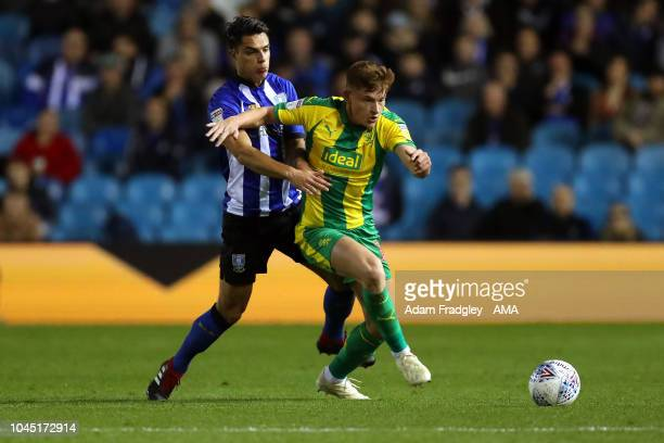 Joey Pelupessy of Sheffield Wednesday and Harvey Barnes of West Bromwich Albion during the Sky Bet Championship match between Sheffield Wednesday and...