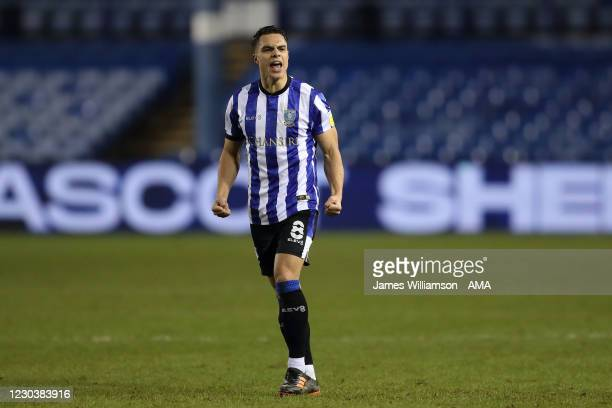Joey Pelupessy of Sheffield Wednesday celebrates his sides 1-0 victory at full time of the Sky Bet Championship match between Sheffield Wednesday and...