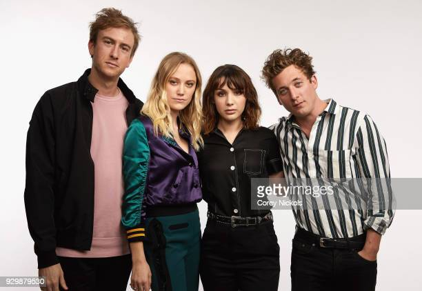 Joey Power Maika Monroe Hannah Marks and Jeremy Allen White from the film 'Shotgun' pose for a portrait in the Getty Images Portrait Studio Powered...