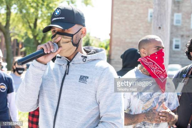 Joey Purp attends the Year Of The Youth Peace Walk Give Back Event at Overton Elementary School on September 19 2020 in Chicago Illinois