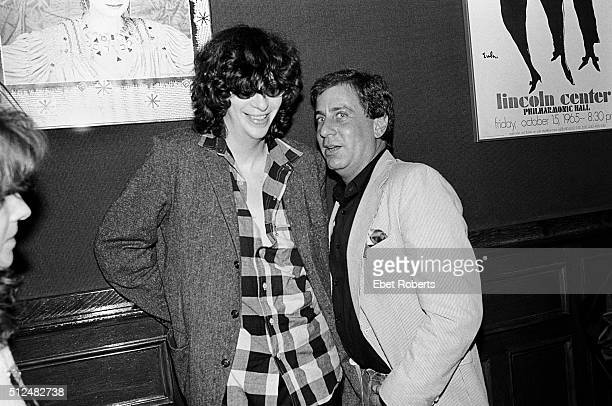 Joey Ramone and Danny Fields at a Lou Reed after show party at Jerry's Restaurant in New York City on October 17 1984
