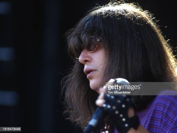 Joey Ramone of Ramones performs during Lollapalooza at Spartan Stadium on August 2, 1996 in San Jose, California.