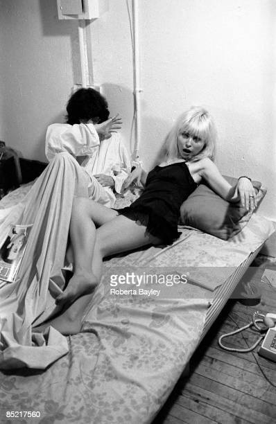Joey Ramone of the Ramones and Debbie Harry of Blondie posing for Punk Magazine at Debbie Harry's apartment in New York 1977