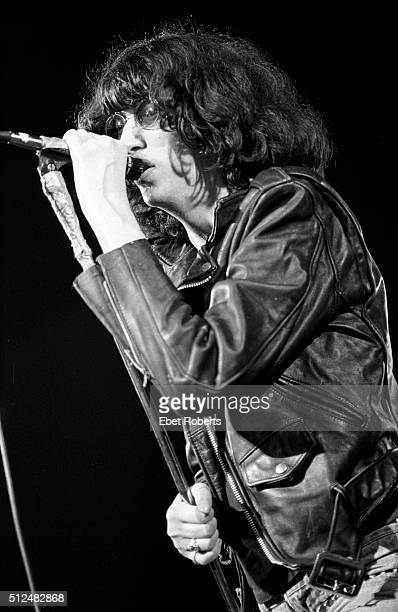 Joey Ramone of The Ramones performing in Asbury Park New Jersey on August 5 1978
