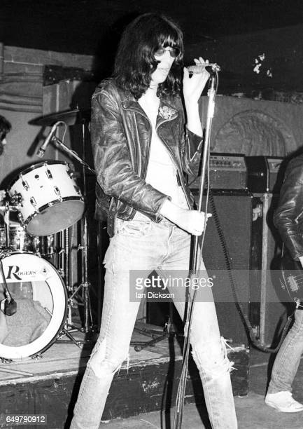 Joey Ramone of The Ramones performs on stage at Eric's club Liverpool 19 May 1977