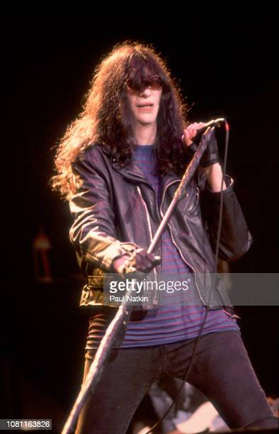 Joey Ramone of the Ramones performs on stage at the Marcus Ampitheater in Milwaukee Wisconsin July 1 1990