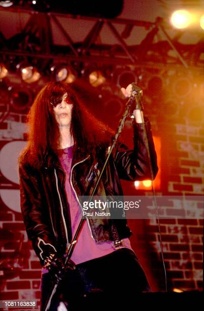 Joey Ramone of the Ramones performs on stage at the Marcus Ampitheater in Milwaukee, Wisconsin, July 1, 1990.