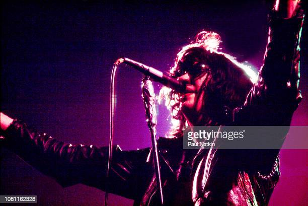 Joey Ramone of the Ramones performs on stage at the Park West in Chicago Illinois May 13 1980
