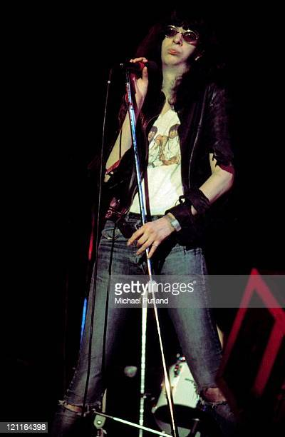 Joey Ramone of The Ramones performs on stage at The Roundhouse, London, 4th July 1976.