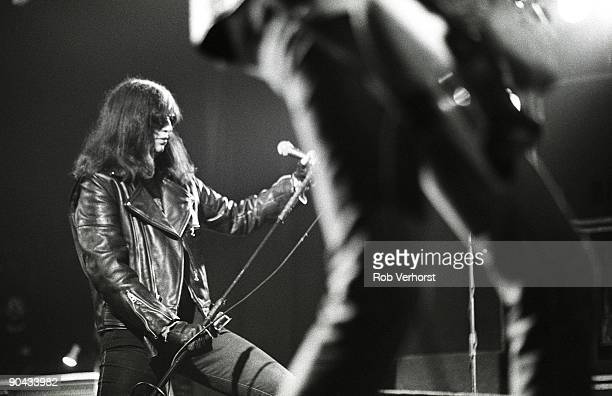Joey Ramone performs on stage with the Ramones at the Nighttown in Rotterdam Netherlands on October 16 1994