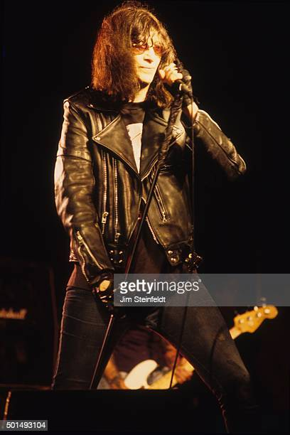 Joey Ramone performs with the Ramones at Edge Fest 2 at FloatRite Park in Somerset Wisconsin on May 28 1995