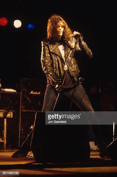 Joey Ramone performs with the Ramones at Edge Fest 2 at Float-Rite Park in Somerset, Wisconsin on May 28, 1995.