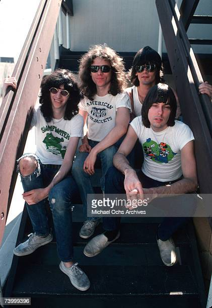 Joey Ramone Tommy Ramone Dee Dee Ramone and Johnny Ramone of the rock and roll band The Ramones pose for a portrait holding letters that spell out...
