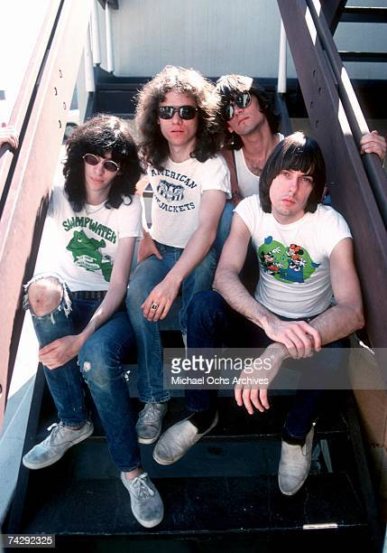 Joey Ramone Tommy Ramone Dee Dee Ramone and Johnny Ramone of the rock and roll band 'The Ramones' pose for a portrait holding letters that spell out...