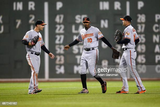 Joey Rickard Adam Jones and Craig Gentry of the Baltimore Orioles embrace after their victory over the Boston Red Sox at Fenway Park on May 1 2017 in...