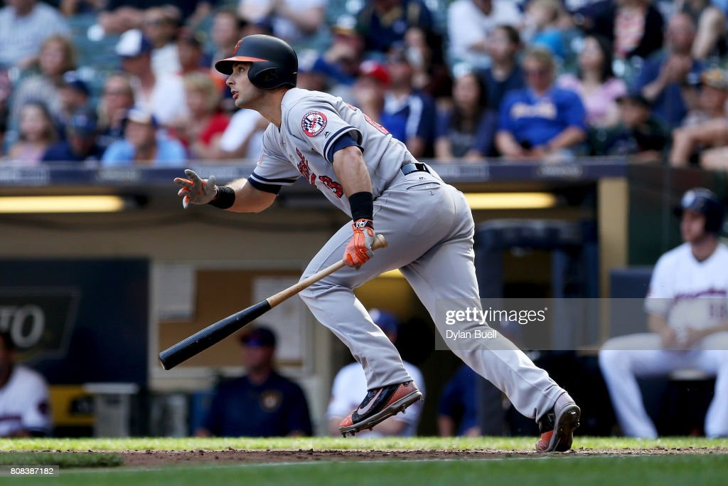 Joey Rickard #23 of the Baltimore Orioles hits a single in the seventh inning against the Milwaukee Brewers at Miller Park on July 4, 2017 in Milwaukee, Wisconsin.