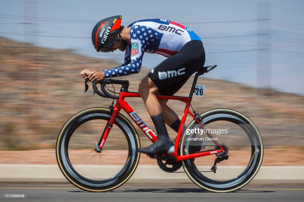 Joey Rosskopf of the United States and the BMC Racing Team rides in his new National Champion jersey during the prologue on August 6, 2018 in St. George, Utah.