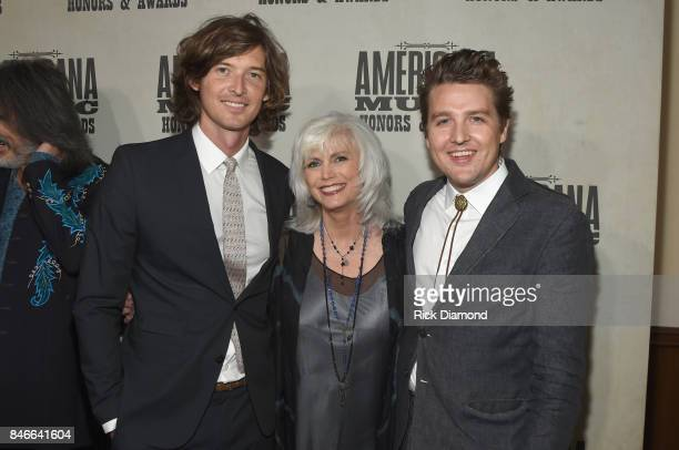 Joey Ryan and Kenneth Pattengale of The Milk Carton Kids pose with Emmylou Harris during the 2017 Americana Music Association Honors Awards on...