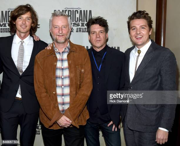 Joey Ryan Billy Bragg Joe Henry and Kenneth Pattengale attend the 2017 Americana Music Association Honors Awards on September 13 2017 in Nashville...